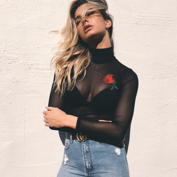 Tops - 🌹Embroidered Mesh Top🌹